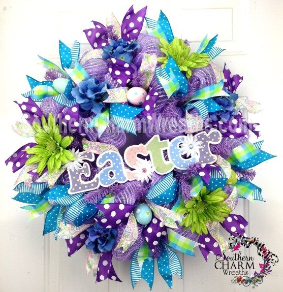 Deco Mesh EASTER Wreath with Polka Dot Sign Lavender Lime Blue Eggs Door Wreath by www.southerncharmwreaths.com #decomesh #easter #wreath