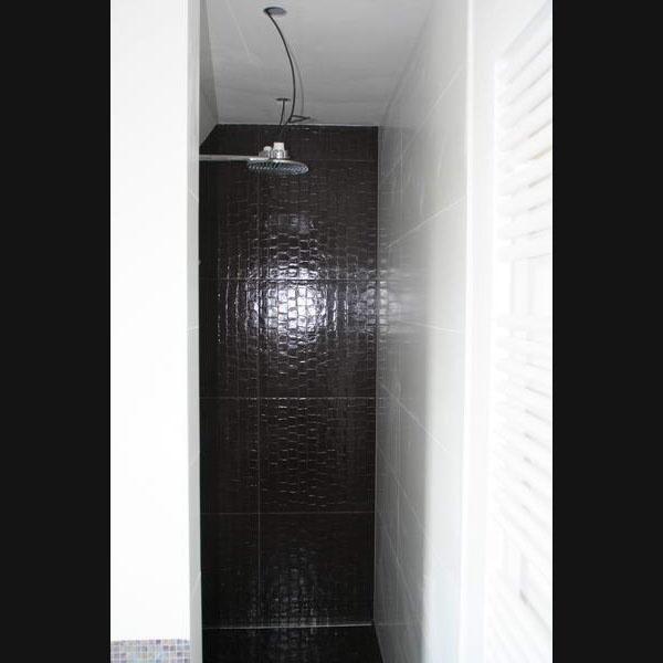 Inloopdouche met hoofddouche de badkamer is betegeld met sicis glasmozaiek en rex croco - Badkamer betegeld ...
