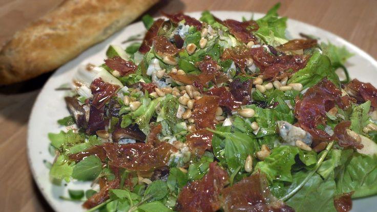 Salat, parmaskinke og gorgonzola