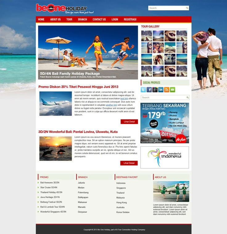 A brand new website theme and layout design for Be One Holiday official site.