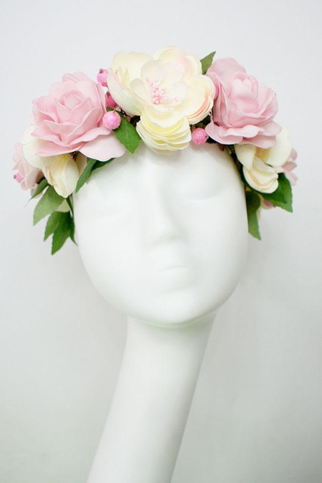 Haarbanden - Bloemen diadeem - Een uniek product van LolaWhite op DaWanda