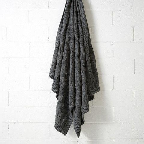 Aura Jumbo Cable Knit Throw Charcoal