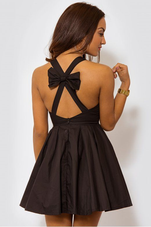 LUXE Bow Back Black Mini Dress