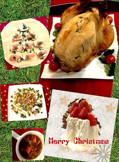 今年はターキーではなくチキンで。大きかったのでスタッフィングせずに焼きました。 自家製ハーブは、今や我が家の料理で必須の存在。今日はローズマリー、タイム、イタリアンパセリ、ディル、ローリエ。 - 5件のもぐもぐ - 12/25の夕ご飯:塩麹と自家製ハーブのローストチキン(+ブロッコリ、トマト、レタス)(+わさびソース)、マカロニサラダ(ベーコン、胡瓜)にイタリアンパセリ&カニカマのリース風、サーモン&チーズにディル、ビーフシチュー、苺のキャンドルケーキ(夫作)、あと撮り忘れたクロワッサン&赤ワイン。 by piyokoo