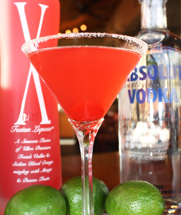 X-Rated Valentini: X-Rated Fusion Vodka, Absolut vodka, cranberry juice, & a squeeze of fresh lime. Served up with a sugar rim! #cocktail #alcohol #vodka