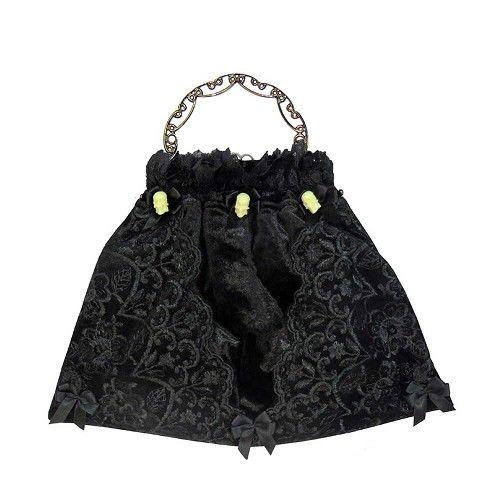 Fluwelen tas met kant, strikken en witte doodskoppen zwart - Victoriaans Gothic - One Size - Sinister