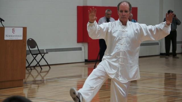 Bruce and I participated in a demonstration of the Sun 41 form at the World Tai Chi Day celebration at Normandale Community College on Saturday.  If you look closely, you can see us both!  It was a very fun morning!