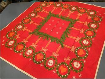Retro Röd duk med julmotiv