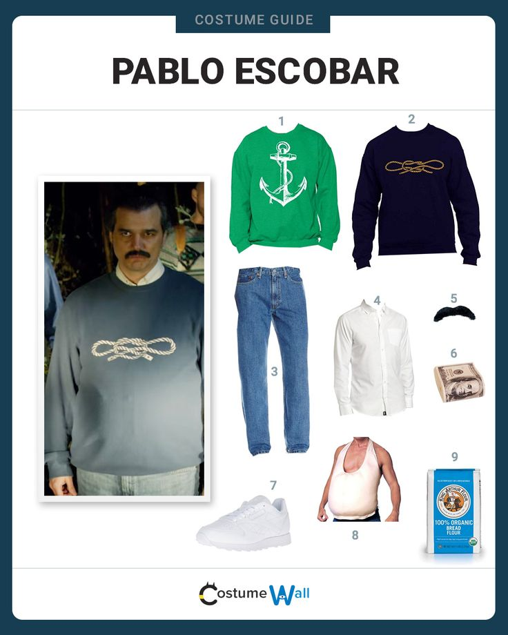 Get in costume as Pablo Escobar, the drug kingpin and leader of the Medellín Cartel, portrayed by Wagner Moura in the Netflix TV series Narcos.
