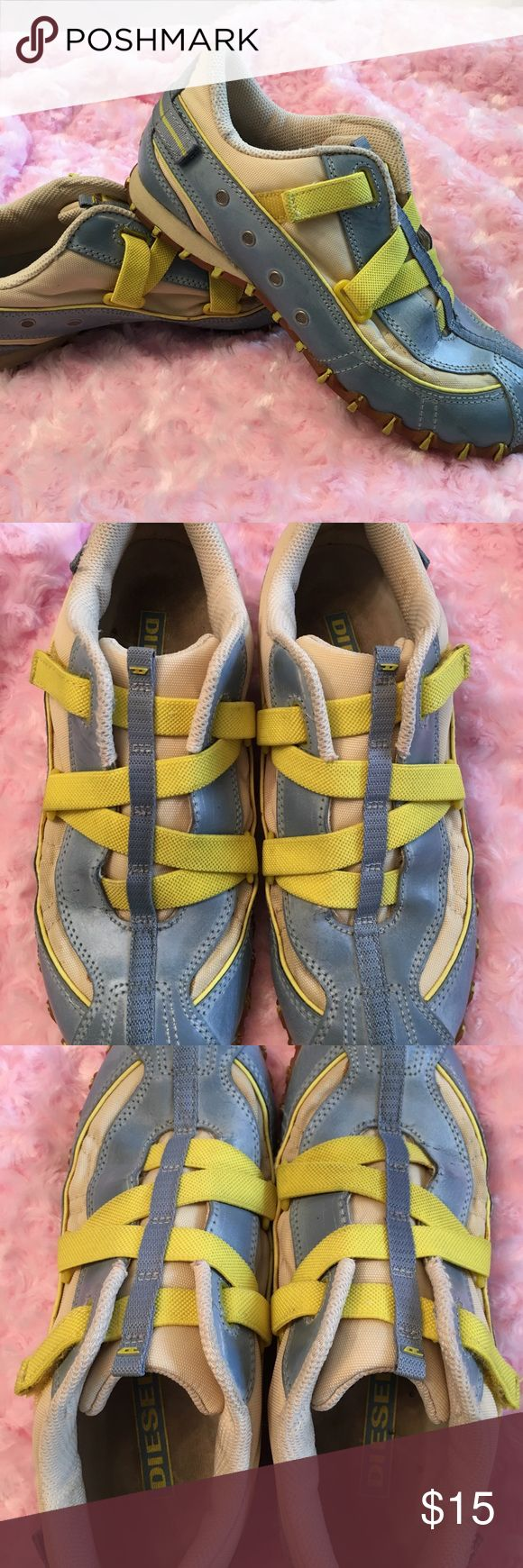 Diesel Ladies Shoes Size 7 Blue leather upper with rubber soles. Yellow crisscross elastic velcro closure. Excellent condition for having been worn a few times.  Always complimented on them when worn. Diesel Shoes