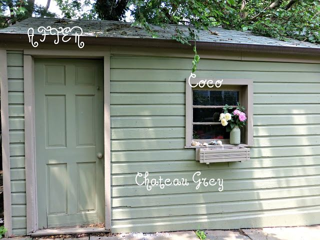 Spunky Real Deals: Annie Sloan Chalk Painted Shed {You can DIY}  ~  Chateau Grey and Coco