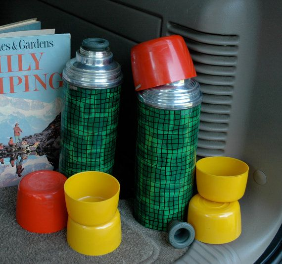 Vintage 1950s Aladdin Thermos Bottles, Set of Two -Tailgating -Camping - Football - Picnic