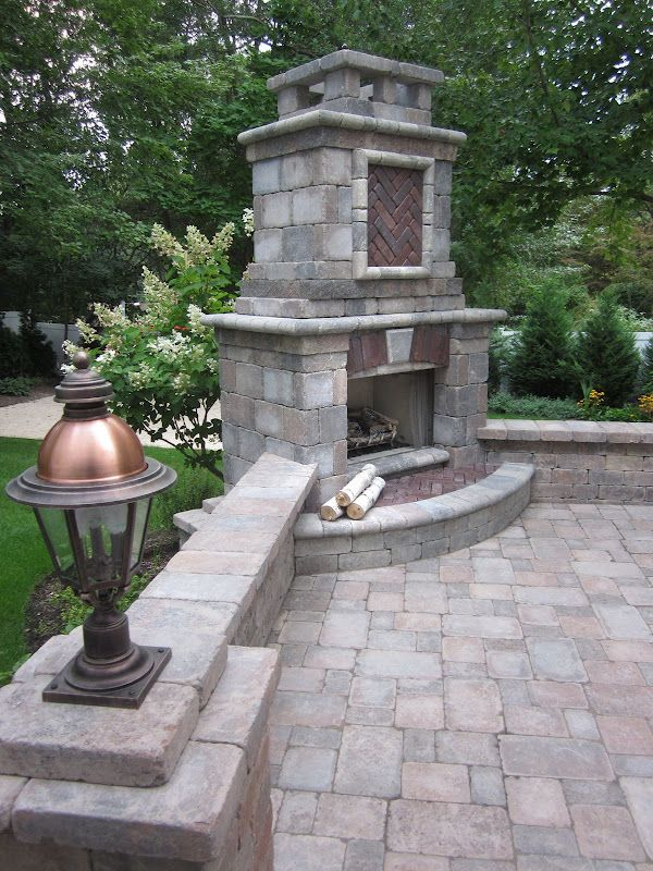17 best images about unilock on pinterest stone for Outdoor stone fireplace designs