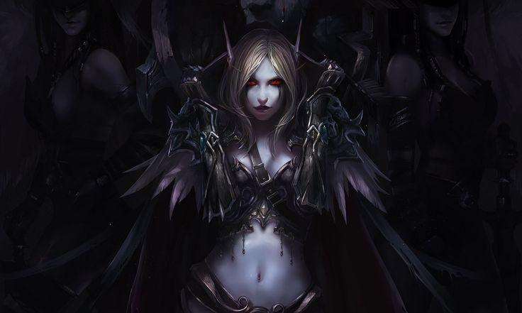 Vídeo Game World Of Warcraft  Elfo Sylvanas Windrunner Fantasia Escuridão Dark Angel Demônio Woman Warrior Woman Armor Papel de Parede