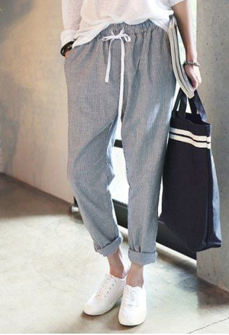 Casual Striped Drawstring Harem Pants For Women