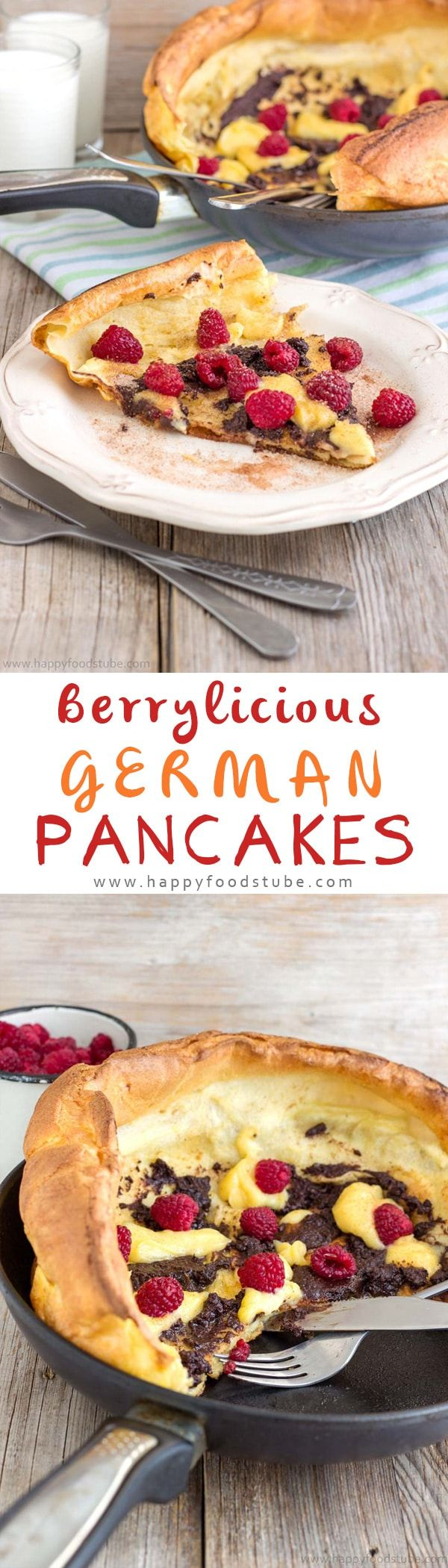German Pancakes (Dutch Baby Pancakes) are the best pancakes you can get! Buttery, oven baked pancakes topped with raspberries, lemon curd & melted chocolate! | happyfoodstube.com