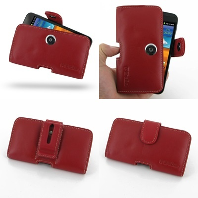 PDair Leather Case for Samsung Galaxy S II Epic 4G Touch SPH-D710 - Horizontal Pouch Type (Red)