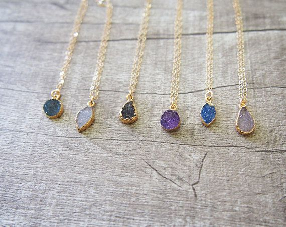 Agate Druzy Gold Necklace Gemstone Gold Plated Necklace by LUSIX