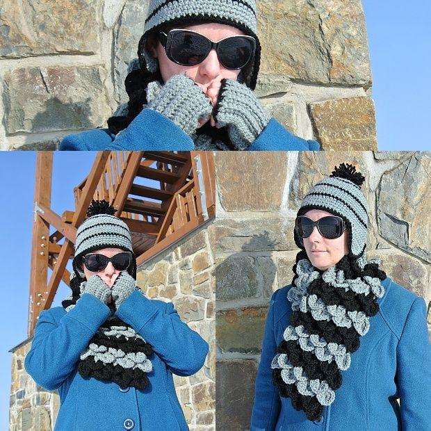 Zimní komplet Yetti u rozhledny :) Krokodýlí šála, ušanka inspirovaná na DROPS a rukavice.