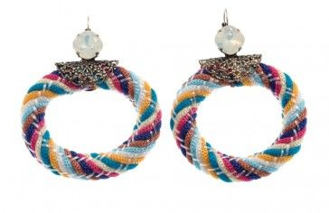 """Gaylussacia"" - Handmade antique metal plated hoop earrings with multi-colour rope and Swarovski crystals, by Art Wear Dimitriadis"