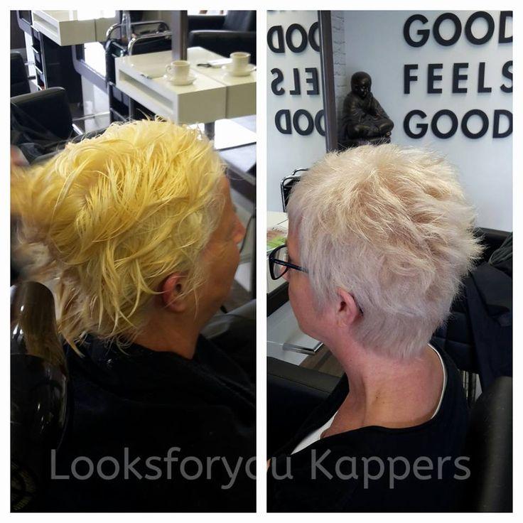 Van geblondeerd geel haar naar natuurlijk koel blond