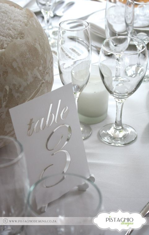 Text Laser cut Table Number by www.pistachiodesigns.co.za