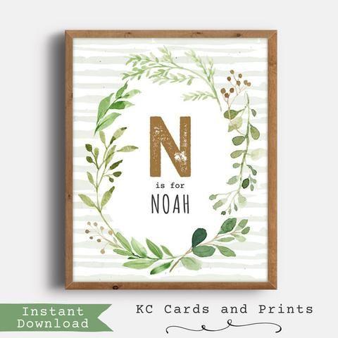 Noah Nursery Name Art, Woodland Nursery Decor, Personalized, Instant Download