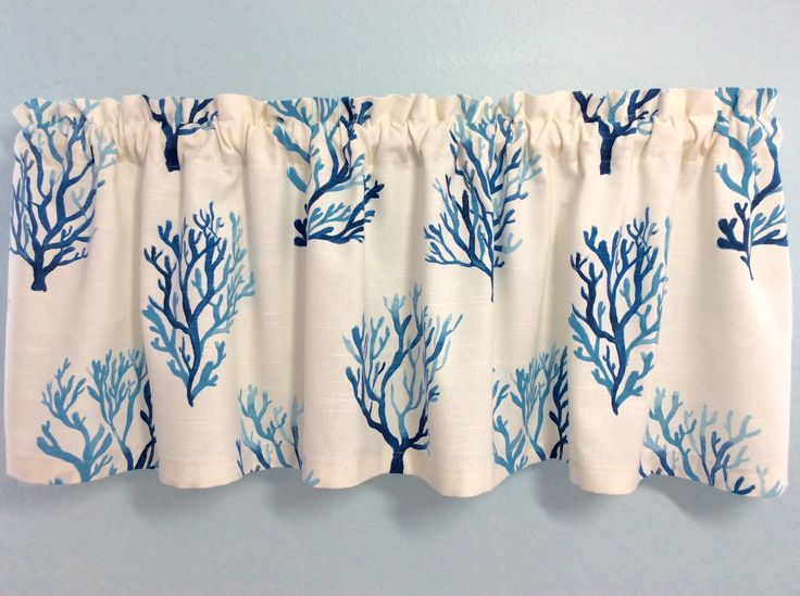 Coral Design Valance-Beach Valance-Lake Valance-Nautical Valance-Coral Curtains-Tropical Valance-Shades of Blue and white by KelleysBeachDecor on Etsy