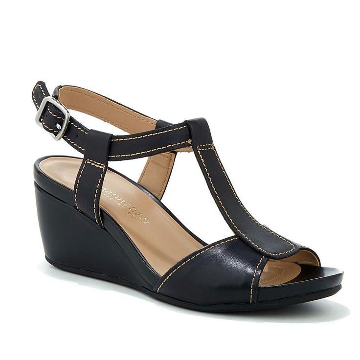 Naturalizer Camilla Leather T-Strap Wedge Sandal - Black