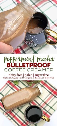 It's like Christmas in a cup! This peppermint mocha coffee creamer makes bulletproof coffee easy and festive. | paleo, dairy free, sugar free with all the fat-blasting power of bulletproof coffee  via @mollieannmason