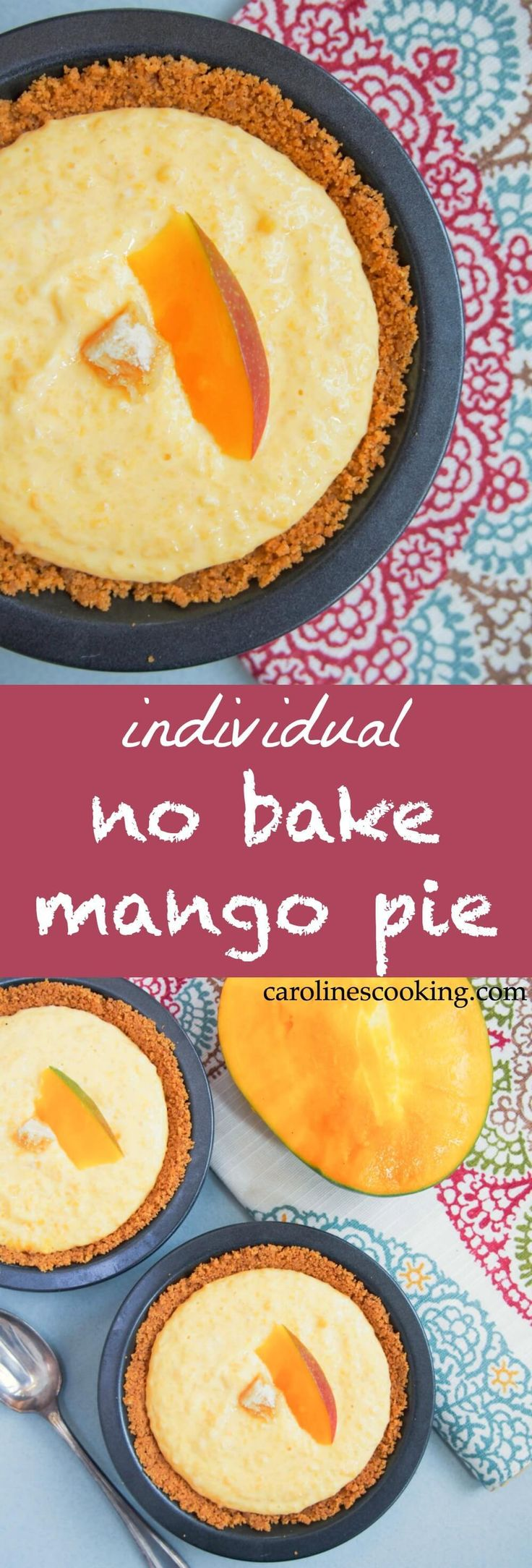 This individual no bake mango pie is a super easy dessert that comes together in no time. With hardly any ingredients, it's tasty & that bit healthier too.