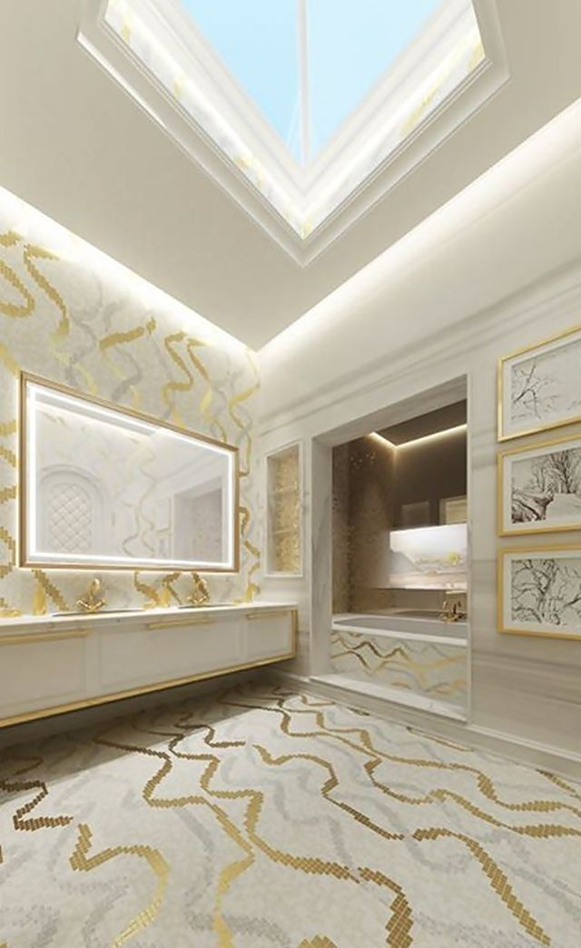 Design e luxo em dubai dubai mosaic wall and design for Bathroom interior design dubai