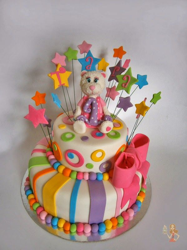 Make me a cake: First birthday colorful cake
