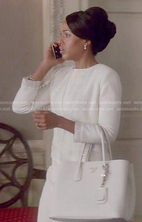 Olivia's white beaded jacket on Scandal.  Outfit Details: http://wornontv.net/53444/ #Scandal