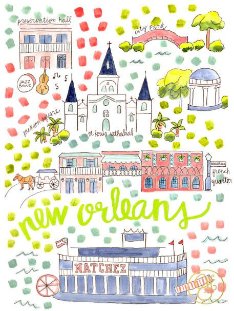 New Orleans Map Print by Evelyn Henson