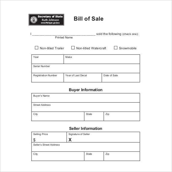 Dmv Bill Of Sale Form Michigan Bill Of Sale Words Sale