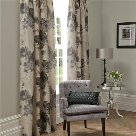 <3 Catherine Lansfield Plumo, Pencil Pleat Curtains