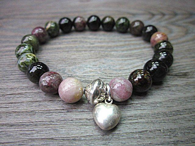 Tourmaline multicolore elbaïte, perle et coeur en argent sterling bali 925 de la boutique BijouxDesignselect sur Etsy