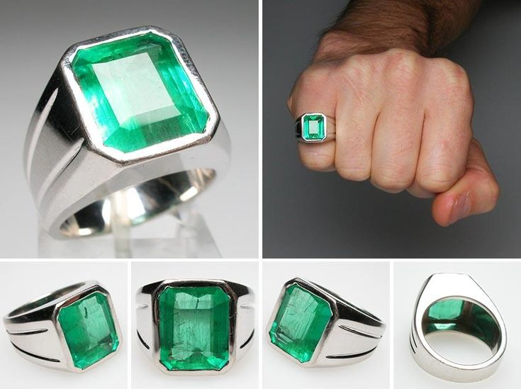 A Big Amethyst Ring replacement? Only four grand!    Vintage Mens Natural Emerald Ring Solid 14K White Gold - EraGem
