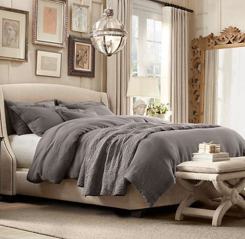 grey bedding, linen room