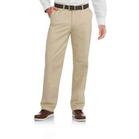 George Men's Wrinkle Resistant Flat Front 100% Cotton Twill Pant with Scotchgard, Size: 36 x 34, Beige