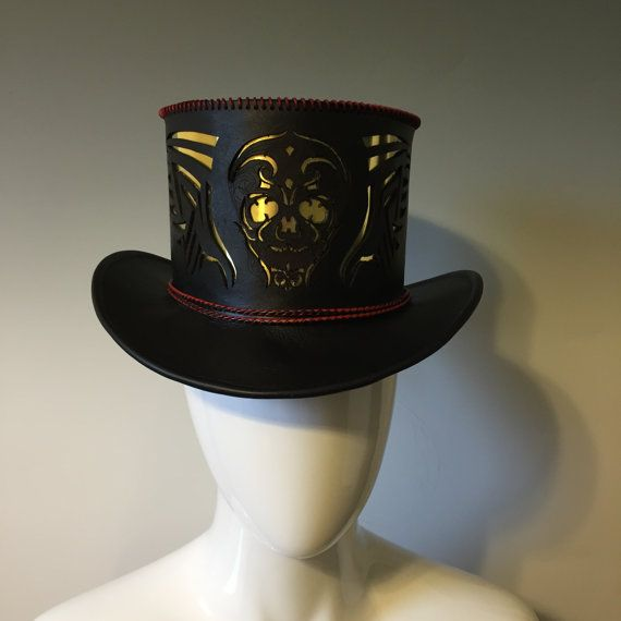 Hand Stitched Leather Top Hat  Unisex Top by LeatherFeatherFleece
