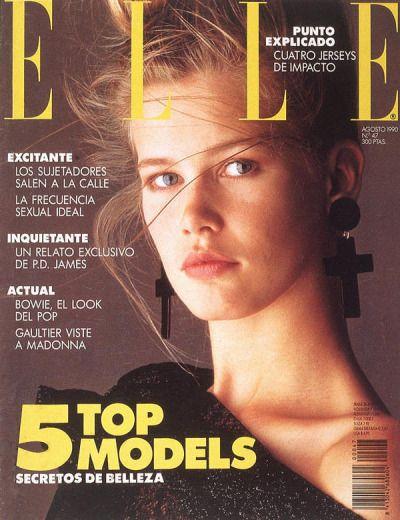 """ Elle Spain, August 1990. Model: Claudia Schiffer. """