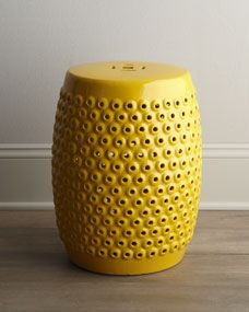 dining/living room (pedestal for little tree): Yellow Pierced Ceramic Stool, $150