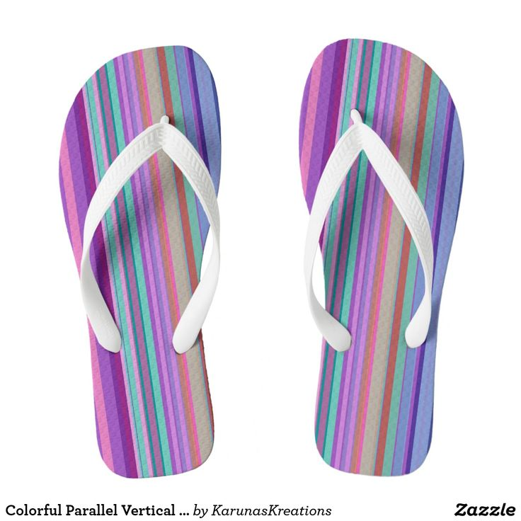 Colorful Parallel Vertical Stripes Flip Flops
