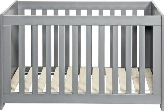 Woood New Life - Ledikant - Geborsteld betongrijs - 60x120 cm