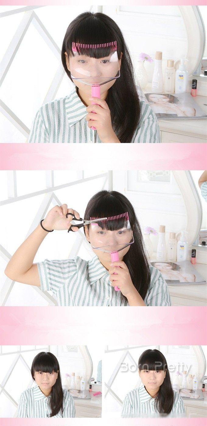 $6.33 1Pc Pink Bang Comb Plastic Long Handle Bang Hair Cutter - BornPrettyStore.com