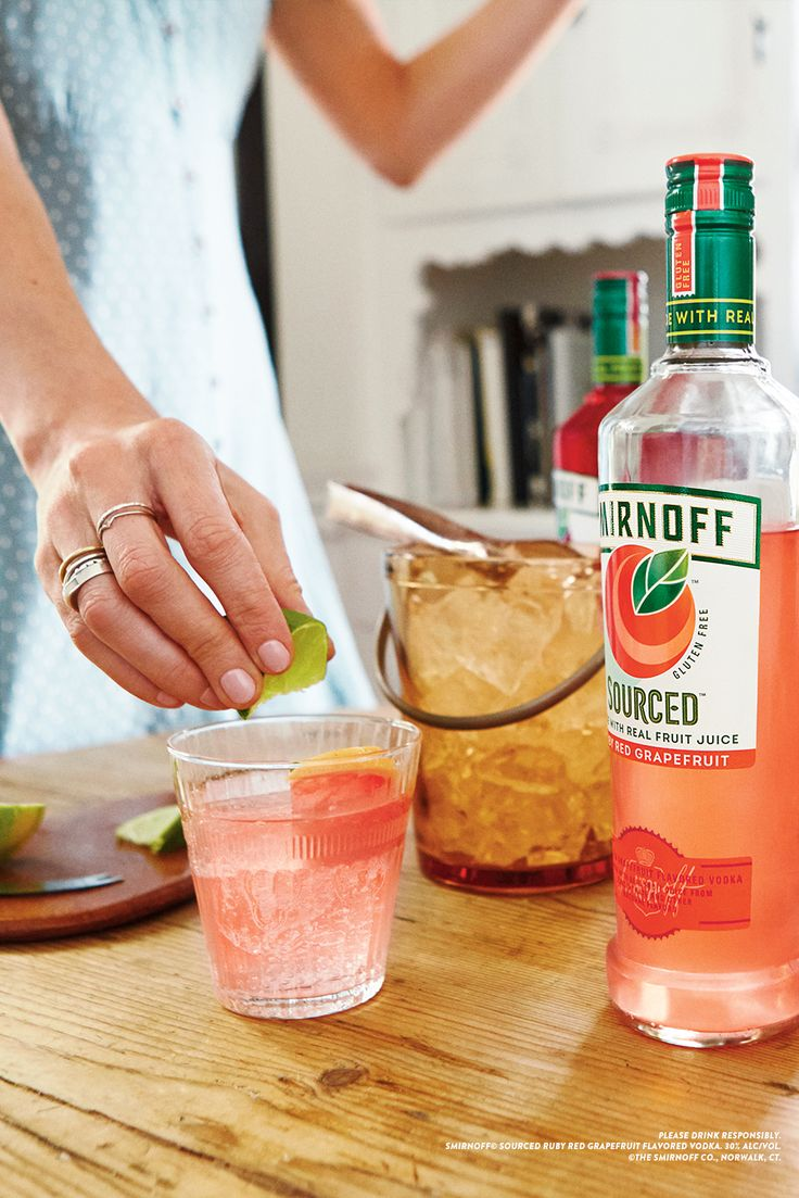 A refreshingly tasty summer drink to pair with backyard barbecues and summer outdoor parties. For easy cocktails just pour Smirnoff Sourced Ruby Red Grapefruit over ice and a splash of soda water. Recipe: 1.5oz Smirnoff Sourced Ruby Red Grapefruit, 3oz Soda Water, Ice.