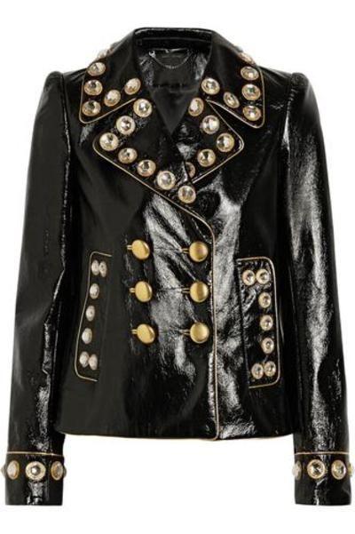 Embellished patent-leather jacket #embellishedjacket #covetme #marcjacobs