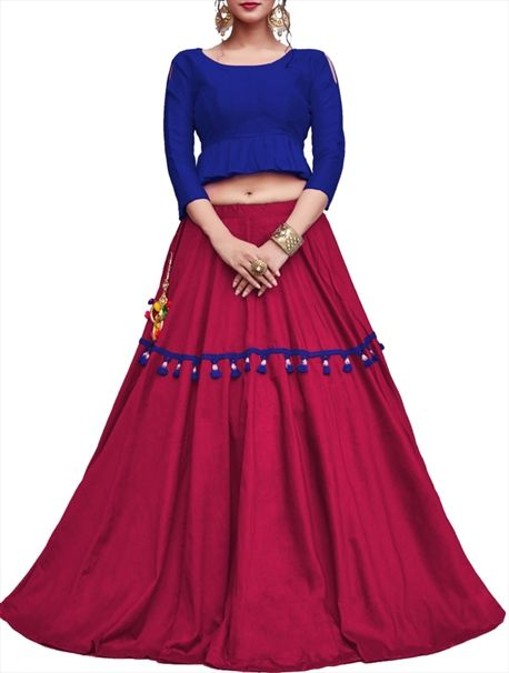 dd680669ef7 Showcase your attitude in this royal Breathtaking Dark Pink Color Cotton  Embroidery Lehenga Choli With Blue